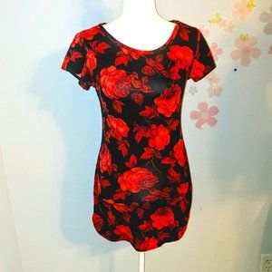 Long black top with red rose print
